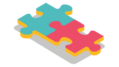 Illustration of 2 jigsaw pieces
